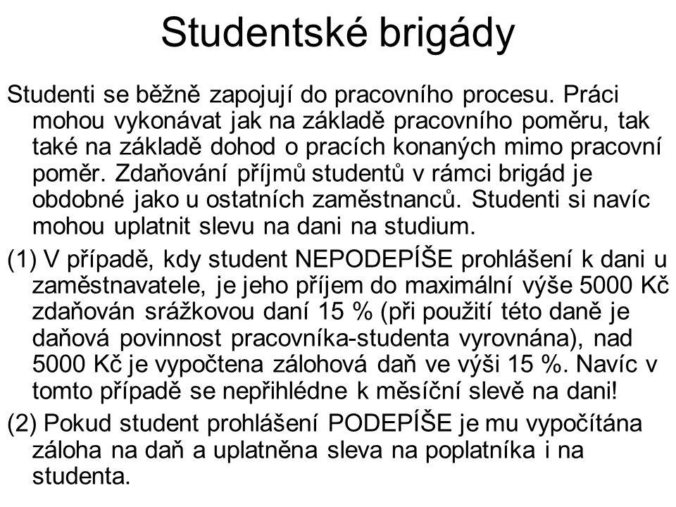 Studentské brigády Studenti se běžně zapojují do pracovního procesu.