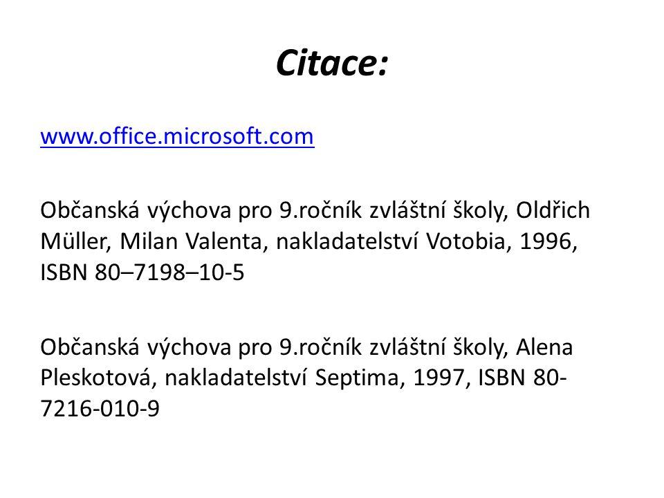 Citace: www.office.microsoft.com Občanská výchova pro 9.ročník zvláštní školy, Oldřich Müller, Milan Valenta, nakladatelství Votobia, 1996, ISBN 80–7198–10-5 Občanská výchova pro 9.ročník zvláštní školy, Alena Pleskotová, nakladatelství Septima, 1997, ISBN 80- 7216-010-9