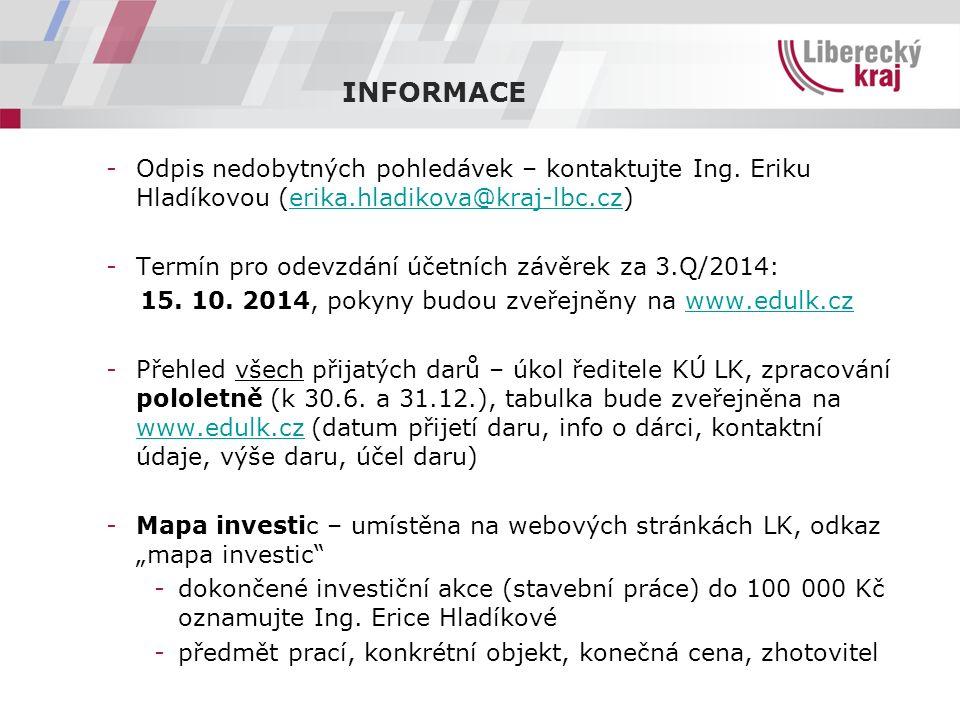 -Odpis nedobytných pohledávek – kontaktujte Ing. Eriku Hladíkovou (erika.hladikova@kraj-lbc.cz)erika.hladikova@kraj-lbc.cz -Termín pro odevzdání účetn