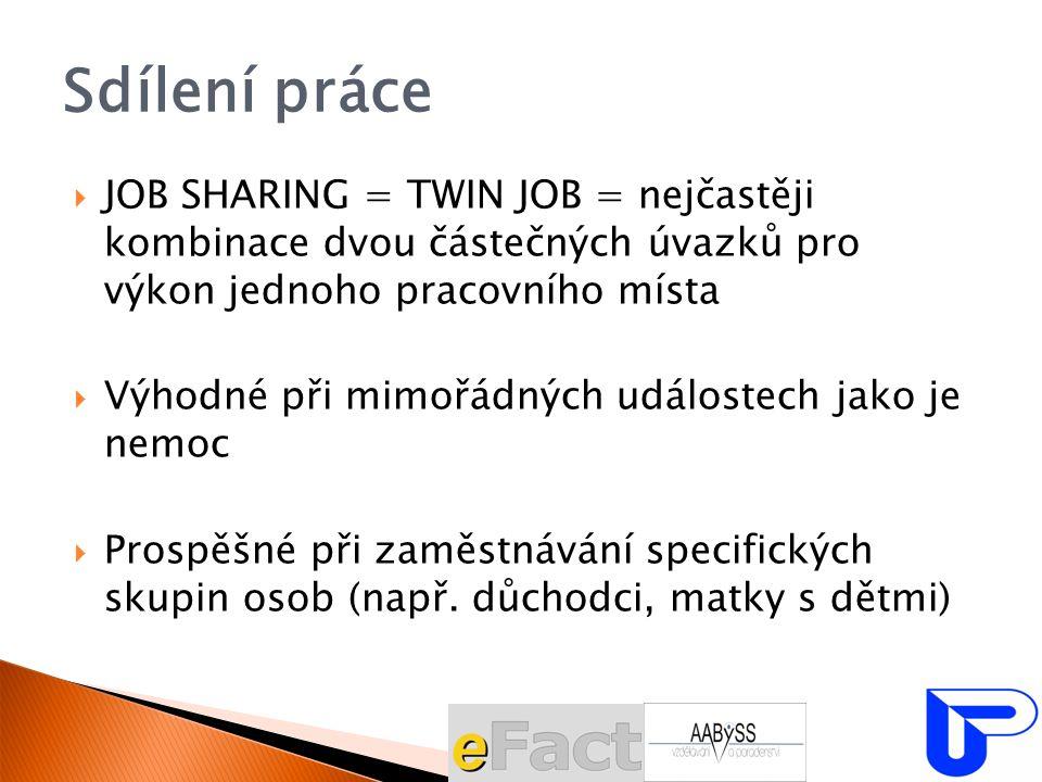 Sdílení práce  JOB SHARING = TWIN JOB = nejčastěji kombinace dvou částečných úvazků pro výkon jednoho pracovního místa  Výhodné při mimořádných událostech jako je nemoc  Prospěšné při zaměstnávání specifických skupin osob (např.