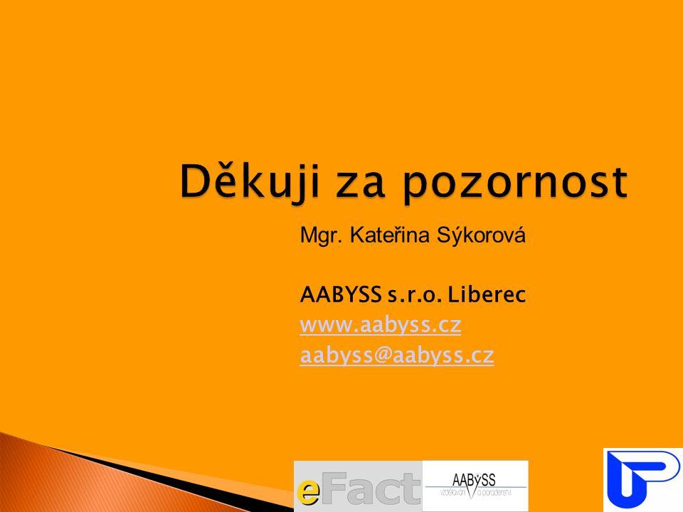 Mgr. Kateřina Sýkorová AABYSS s.r.o. Liberec www.aabyss.cz aabyss@aabyss.cz