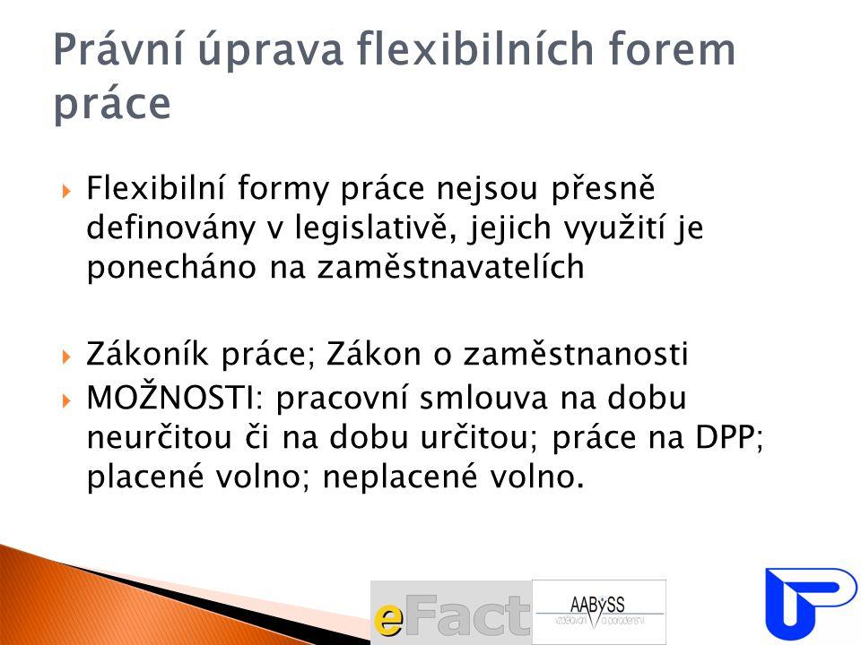 Právní úprava flexibilních forem práce  Flexibilní formy práce nejsou přesně definovány v legislativě, jejich využití je ponecháno na zaměstnavatelíc