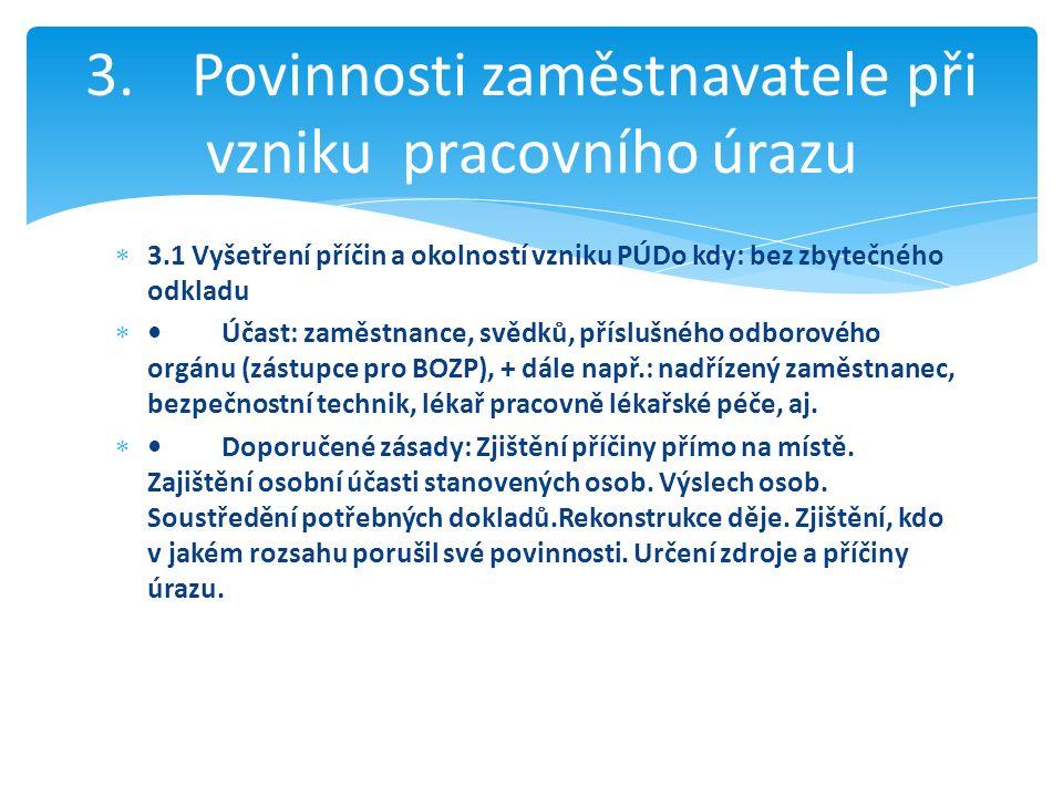  3.1 Vyšetření příčin a okolností vzniku PÚDo kdy: bez zbytečného odkladu Účast: zaměstnance, svědků, příslušného odborového orgánu (zástupce pro BO