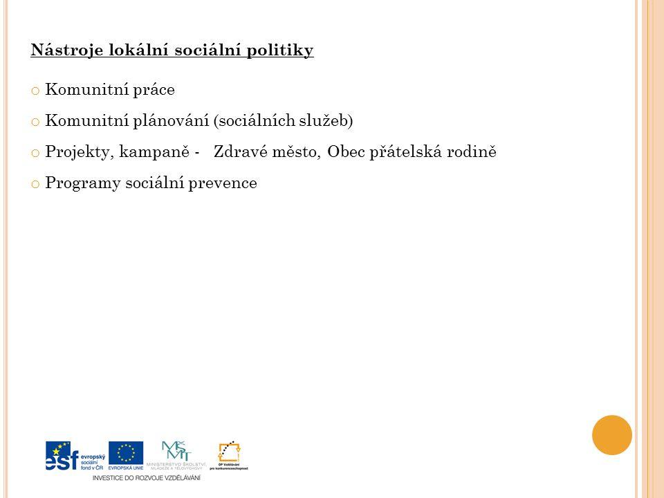 Nástroje lokální sociální politiky o Komunitní práce o Komunitní plánování (sociálních služeb) o Projekty, kampaně - Zdravé město, Obec přátelská rodině o Programy sociální prevence
