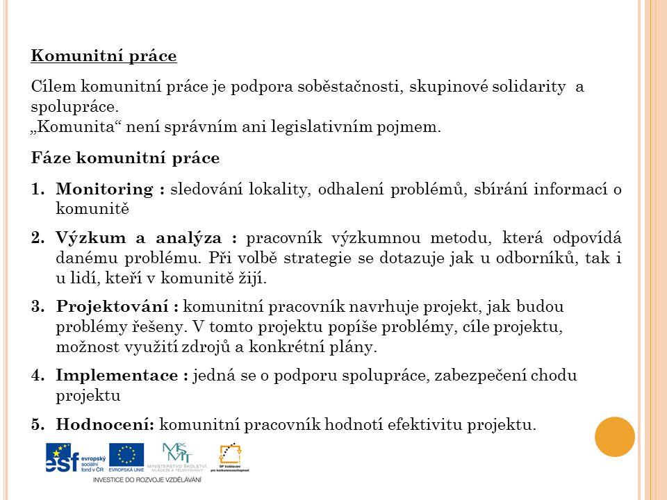 Komunitní práce Cílem komunitní práce je podpora soběstačnosti, skupinové solidarity a spolupráce.