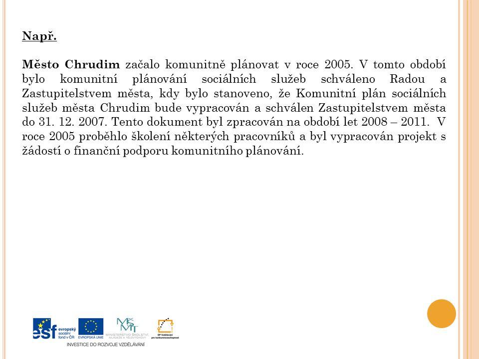 Např. Město Chrudim začalo komunitně plánovat v roce 2005.