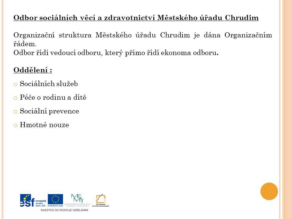 Odbor sociálních věcí a zdravotnictví Městského úřadu Chrudim Organizační struktura Městského úřadu Chrudim je dána Organizačním řádem.