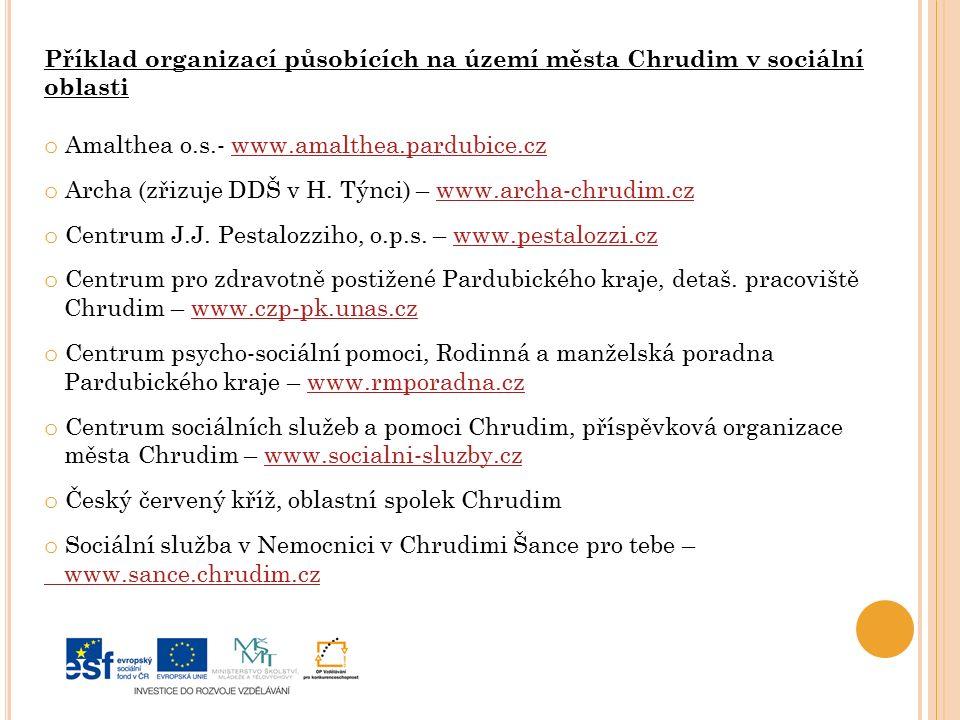 Příklad organizací působících na území města Chrudim v sociální oblasti o Amalthea o.s.- www.amalthea.pardubice.czwww.amalthea.pardubice.cz o Archa (zřizuje DDŠ v H.