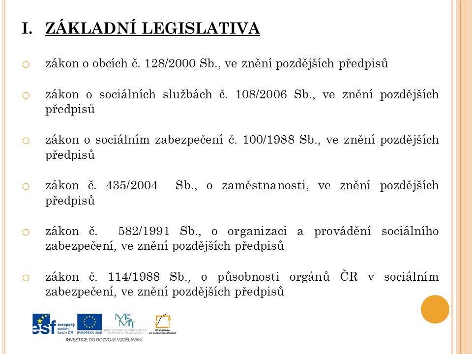 I.ZÁKLADNÍ LEGISLATIVA o zákon o obcích č.