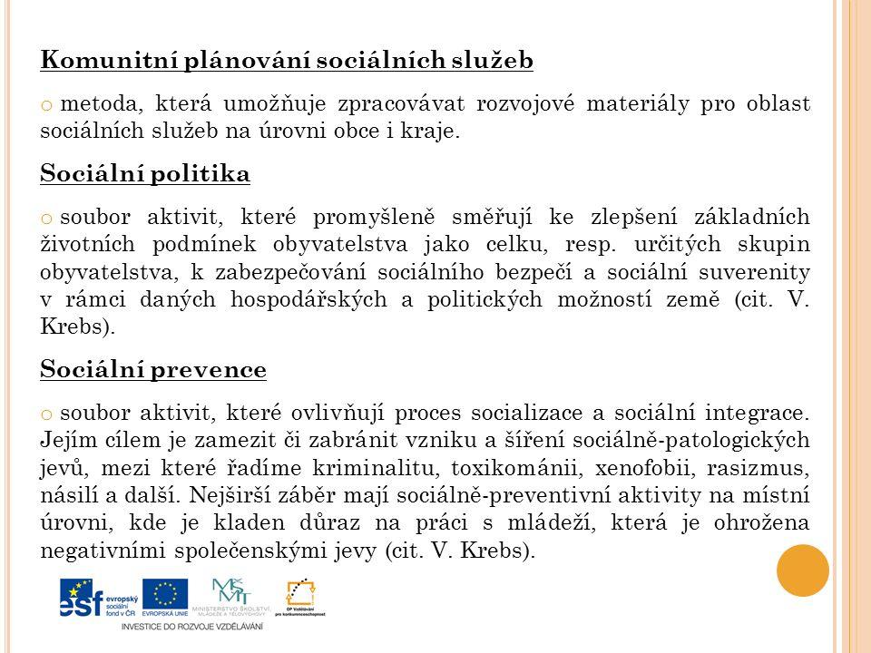 Komunitní plánování sociálních služeb o metoda, která umožňuje zpracovávat rozvojové materiály pro oblast sociálních služeb na úrovni obce i kraje.