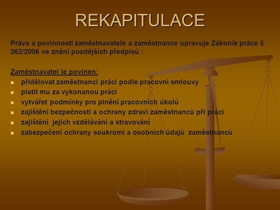 REKAPITULACE Práva a povinnosti zaměstnavatele a zaměstnance upravuje Zákoník práce č.