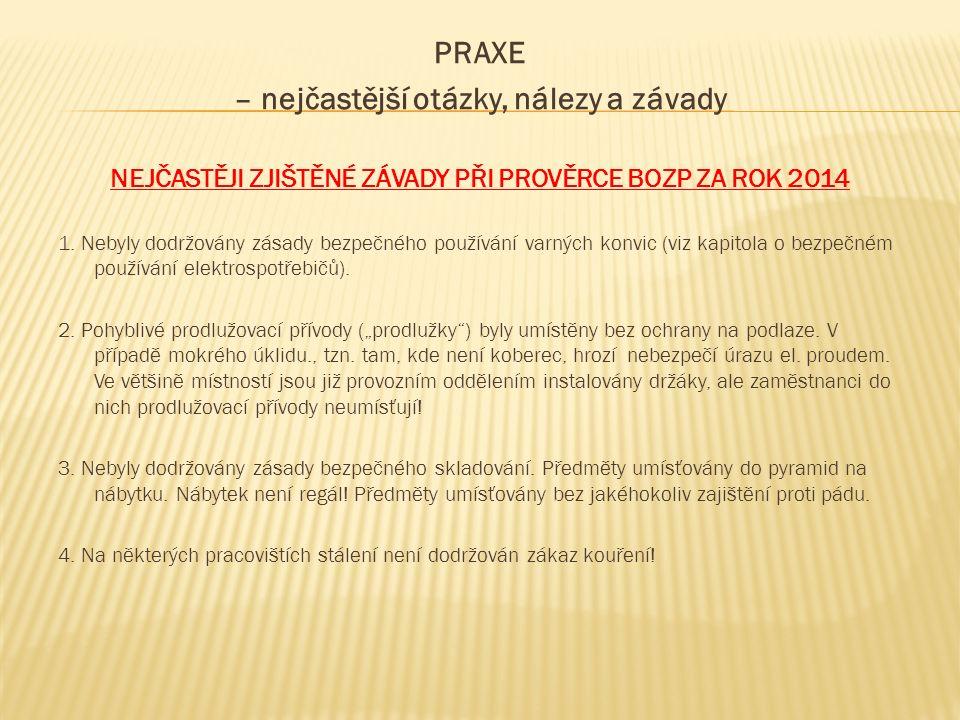 PRAXE – nejčastější otázky, nálezy a závady NEJČASTĚJI ZJIŠTĚNÉ ZÁVADY PŘI PROVĚRCE BOZP ZA ROK 2014 1.