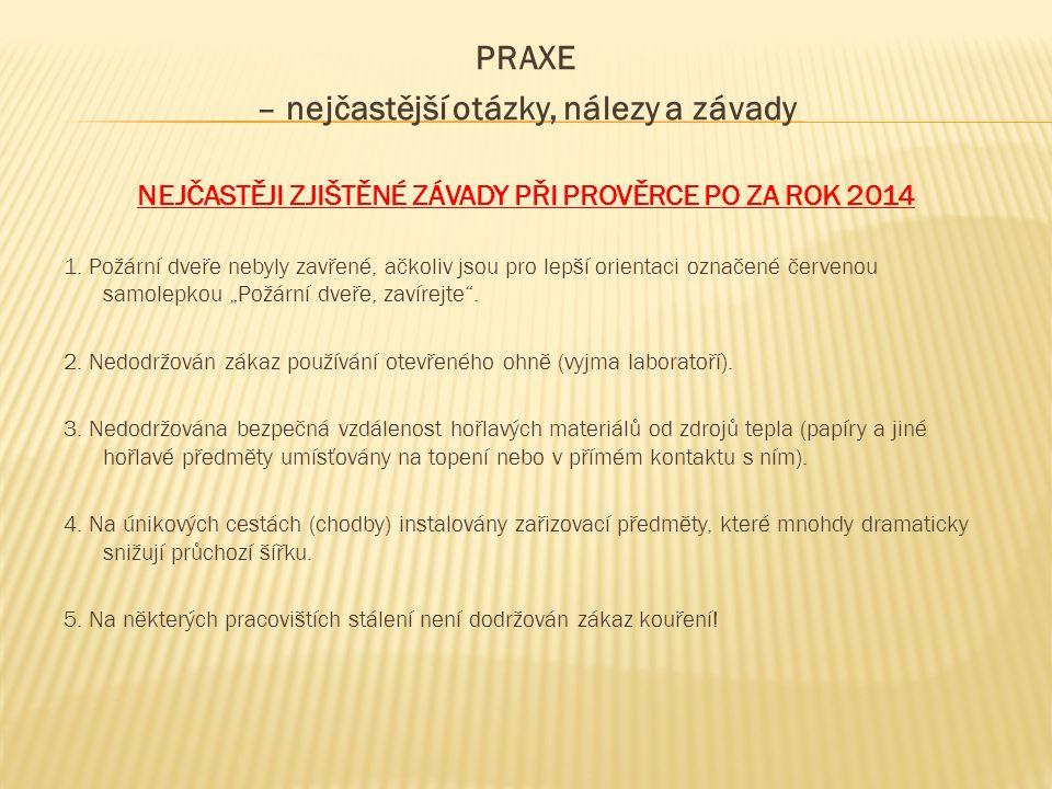 PRAXE – nejčastější otázky, nálezy a závady NEJČASTĚJI ZJIŠTĚNÉ ZÁVADY PŘI PROVĚRCE PO ZA ROK 2014 1.