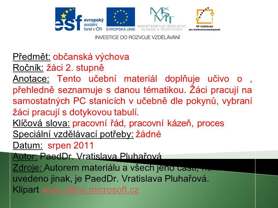 Předmět: občanská výchova Ročník: žáci 2.