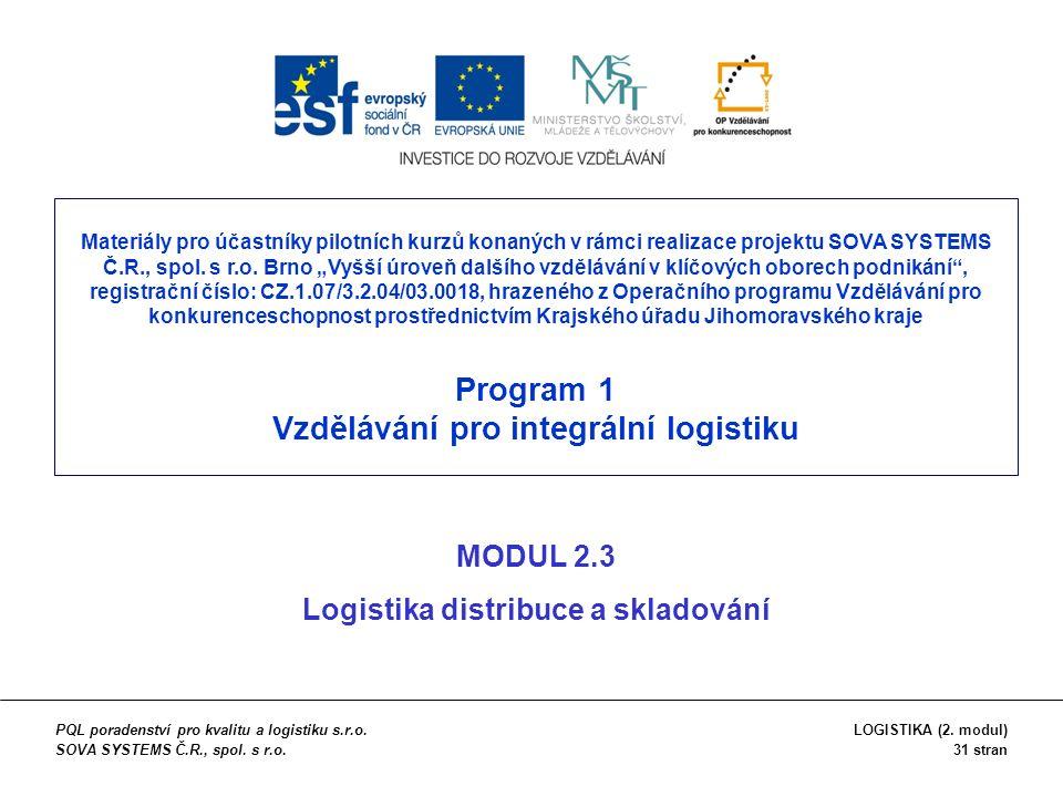 OBSAH (1) Fyzická distribuce (2) Skladování (3) Manipulace a obaly (4) Doprava (5) Identifikační systémy PQL poradenství pro kvalitu a logistiku s.r.o.