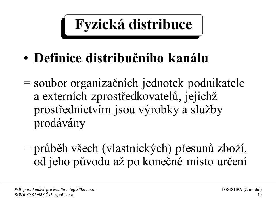 Definice distribučního kanálu =soubor organizačních jednotek podnikatele a externích zprostředkovatelů, jejichž prostřednictvím jsou výrobky a služby