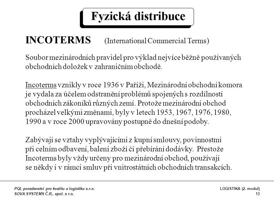 INCOTERMS (International Commercial Terms) Soubor mezinárodních pravidel pro výklad nejvíce běžně používaných obchodních doložek v zahraničním obchodě