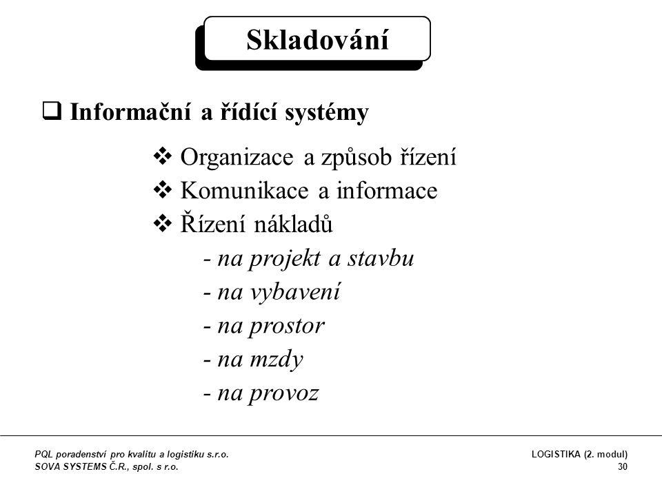 Skladování  Informační a řídící systémy  Organizace a způsob řízení  Komunikace a informace  Řízení nákladů - na projekt a stavbu - na vybavení -