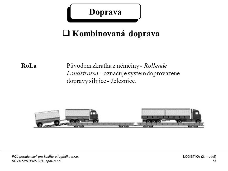 Doprava  Kombinovaná doprava RoLa Původem zkratka z němčiny - Rollende Landstrasse – označuje system doprovazene dopravy silnice - železnice. PQL por