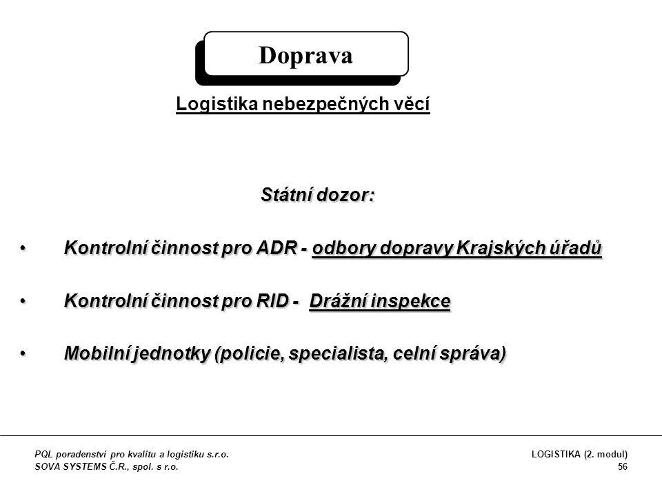 Státní dozor: Kontrolní činnost pro ADR - odbory dopravy Krajských úřadůKontrolní činnost pro ADR - odbory dopravy Krajských úřadů Kontrolní činnost p
