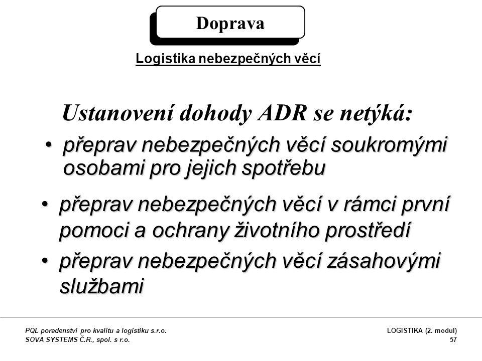 Ustanovení dohody ADR se netýká: přeprav nebezpečných věcí soukromými osobami pro jejich spotřebupřeprav nebezpečných věcí soukromými osobami pro jeji