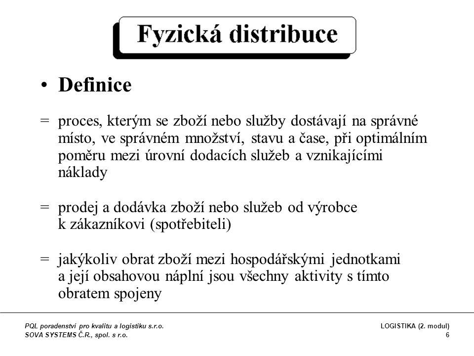 Definice =proces, kterým se zboží nebo služby dostávají na správné místo, ve správném množství, stavu a čase, při optimálním poměru mezi úrovní dodací