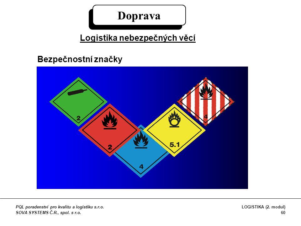 Doprava Logistika nebezpečných věcí Bezpečnostní značky PQL poradenství pro kvalitu a logistiku s.r.o. SOVA SYSTEMS Č.R., spol. s r.o. LOGISTIKA (2. m