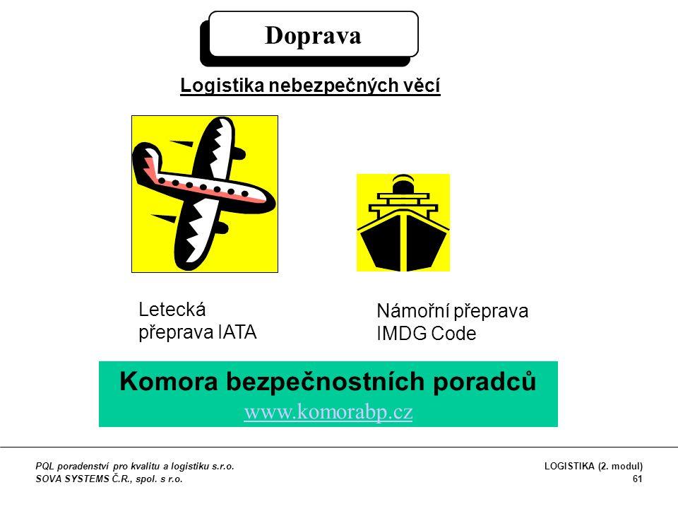 Doprava Logistika nebezpečných věcí Letecká přeprava IATA Námořní přeprava IMDG Code Komora bezpečnostních poradců www.komorabp.cz www.komorabp.cz PQL