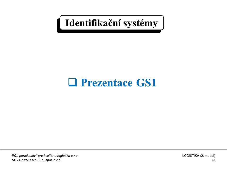 Identifikační systémy  Prezentace GS1 PQL poradenství pro kvalitu a logistiku s.r.o. SOVA SYSTEMS Č.R., spol. s r.o. LOGISTIKA (2. modul) 62