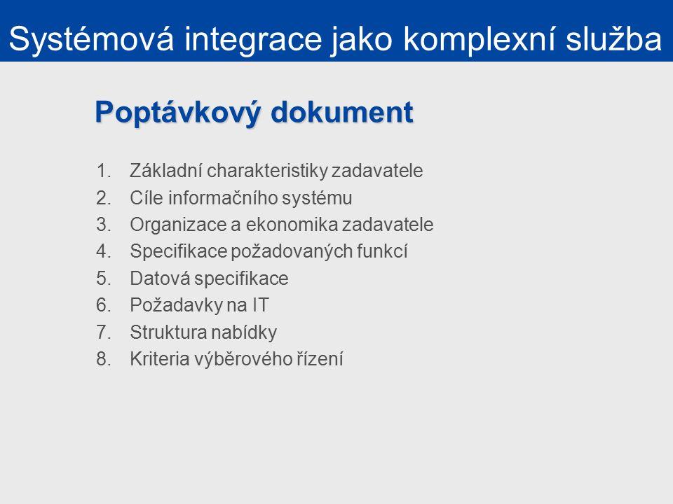 Poptávkový dokument 1.Základní charakteristiky zadavatele 2.Cíle informačního systému 3.Organizace a ekonomika zadavatele 4.Specifikace požadovaných funkcí 5.Datová specifikace 6.Požadavky na IT 7.Struktura nabídky 8.Kriteria výběrového řízení Systémová integrace jako komplexní služba