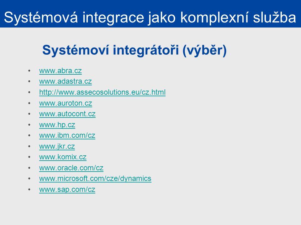 Systémoví integrátoři (výběr) www.abra.cz www.adastra.cz http://www.assecosolutions.eu/cz.html www.auroton.cz www.autocont.cz www.hp.cz www.ibm.com/cz www.jkr.cz www.komix.cz www.oracle.com/cz www.microsoft.com/cze/dynamics www.sap.com/cz Systémová integrace jako komplexní služba
