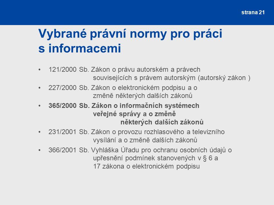 Vybrané právní normy pro práci s informacemi 121/2000 Sb.
