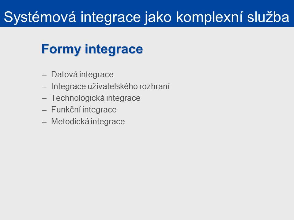 Formy integrace –Datová integrace –Integrace uživatelského rozhraní –Technologická integrace –Funkční integrace –Metodická integrace Systémová integrace jako komplexní služba