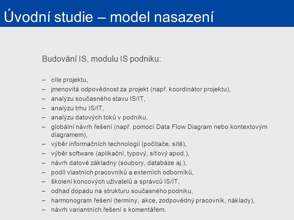 Budování IS, modulu IS podniku: –cíle projektu, –jmenovitá odpovědnost za projekt (např.