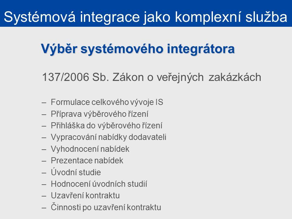 Výběr systémového integrátora 137/2006 Sb.