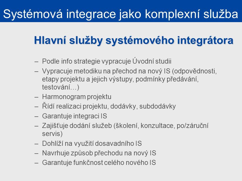 Hlavní služby systémového integrátora –Podle info strategie vypracuje Úvodní studii –Vypracuje metodiku na přechod na nový IS (odpovědnosti, etapy projektu a jejich výstupy, podmínky předávání, testování…) –Harmonogram projektu –Řídí realizaci projektu, dodávky, subdodávky –Garantuje integraci IS –Zajišťuje dodání služeb (školení, konzultace, po/záruční servis) –Dohlíží na využití dosavadního IS –Navrhuje způsob přechodu na nový IS –Garantuje funkčnost celého nového IS Systémová integrace jako komplexní služba