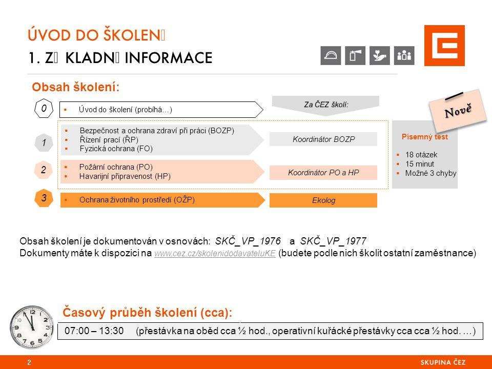 Obsah školení: Písemný test  18 otázek  15 minut  Možné 3 chyby  Úvod do školení (probíhá…) 0  Bezpečnost a ochrana zdraví při práci (BOZP)  Řízení prací (ŘP)  Fyzická ochrana (FO) Koordinátor BOZP  Požární ochrana (PO)  Havarijní připravenost (HP) Koordinátor PO a HP  Ochrana životního prostředí (OŽP) Ekolog 1 2 3 ÚVOD DO ŠKOLENÍ 1.