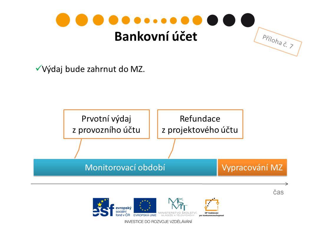 Monitorovací období Vypracování MZ Prvotní výdaj z provozního účtu čas Bankovní účet Příloha č. 7 Refundace z projektového účtu Výdaj bude zahrnut do