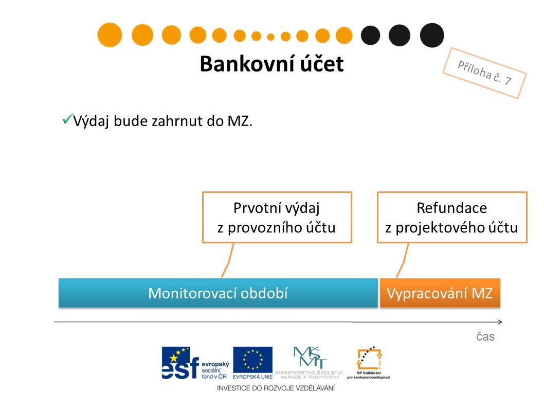 Prvotní výdaj z provozního účtu čas Bankovní účet Příloha č. 7 Refundace z projektového účtu Vypracování MZ Výdaj bude zahrnut do MZ. Monitorovací obd