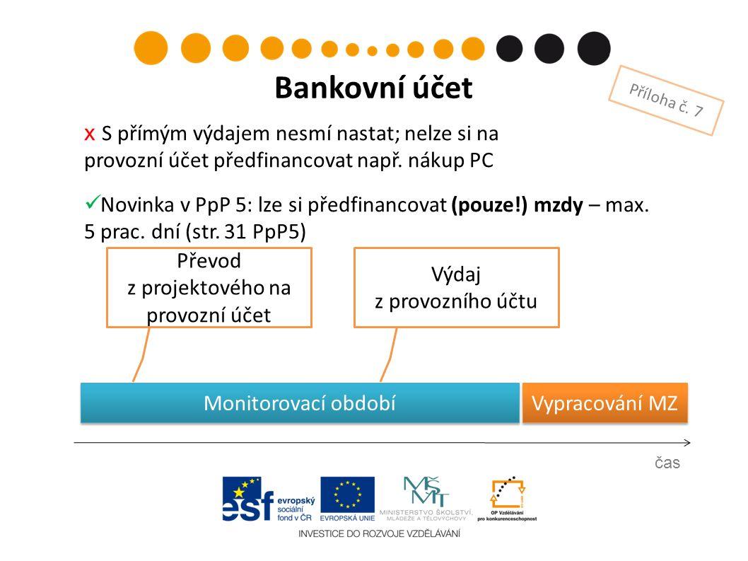Vypracování MZ Výdaj z provozního účtu čas Bankovní účet Příloha č. 7 Převod z projektového na provozní účet х S přímým výdajem nesmí nastat; nelze si
