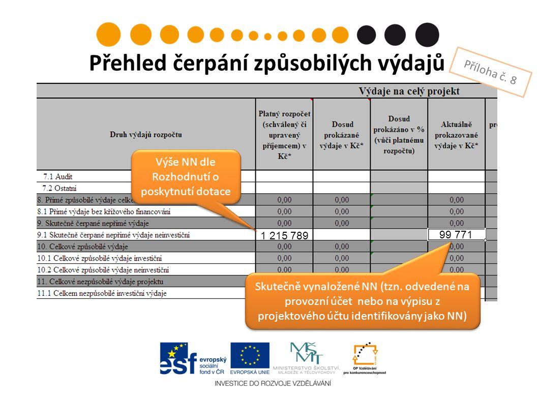 Přehled čerpání způsobilých výdajů Příloha č. 8 Výše NN dle Rozhodnutí o poskytnutí dotace Skutečně vynaložené NN (tzn. odvedené na provozní účet nebo