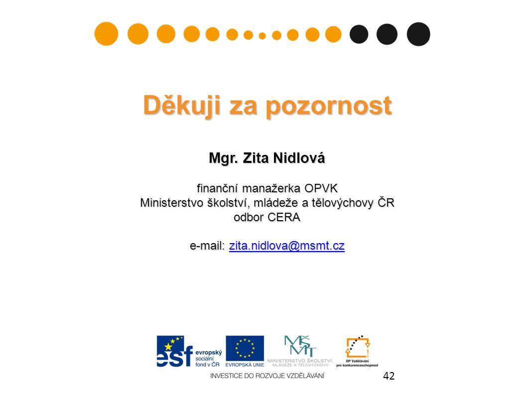 42 Děkuji za pozornost Mgr. Zita Nidlová finanční manažerka OPVK Ministerstvo školství, mládeže a tělovýchovy ČR odbor CERA e-mail: zita.nidlova@msmt.