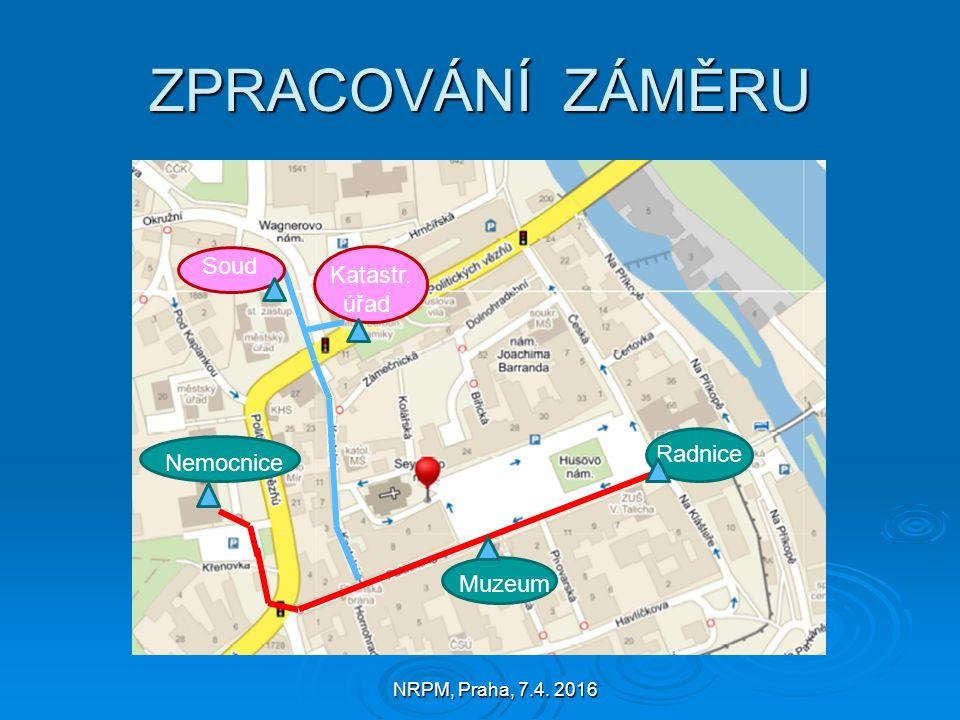 NRPM, Praha, 7.4. 2016 ZPRACOVÁNÍ ZÁMĚRU Radnice Muzeum Nemocnice Soud Katastr. úřad