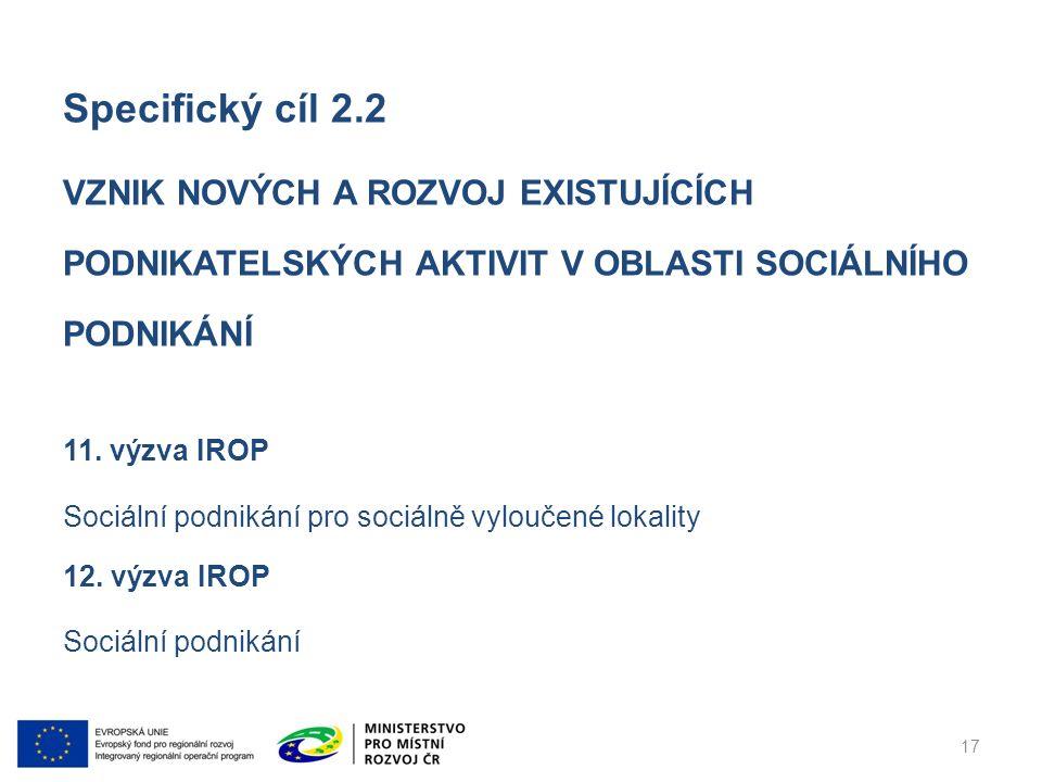 Specifický cíl 2.2 VZNIK NOVÝCH A ROZVOJ EXISTUJÍCÍCH PODNIKATELSKÝCH AKTIVIT V OBLASTI SOCIÁLNÍHO PODNIKÁNÍ 11.