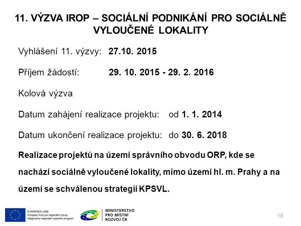 11. VÝZVA IROP – SOCIÁLNÍ PODNIKÁNÍ PRO SOCIÁLNĚ VYLOUČENÉ LOKALITY Vyhlášení 11.