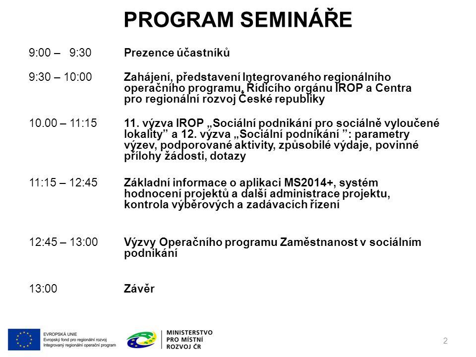 PROGRAM SEMINÁŘE 9:00 – 9:30Prezence účastníků 9:30 – 10:00Zahájení, představení Integrovaného regionálního operačního programu, Řídicího orgánu IROP a Centra pro regionální rozvoj České republiky 10.00 – 11:1511.