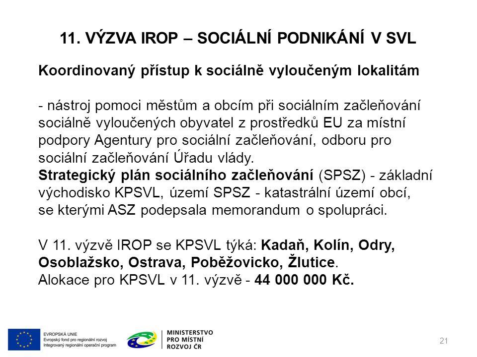 11. VÝZVA IROP – SOCIÁLNÍ PODNIKÁNÍ V SVL 21 Koordinovaný přístup k sociálně vyloučeným lokalitám - nástroj pomoci městům a obcím při sociálním začleň