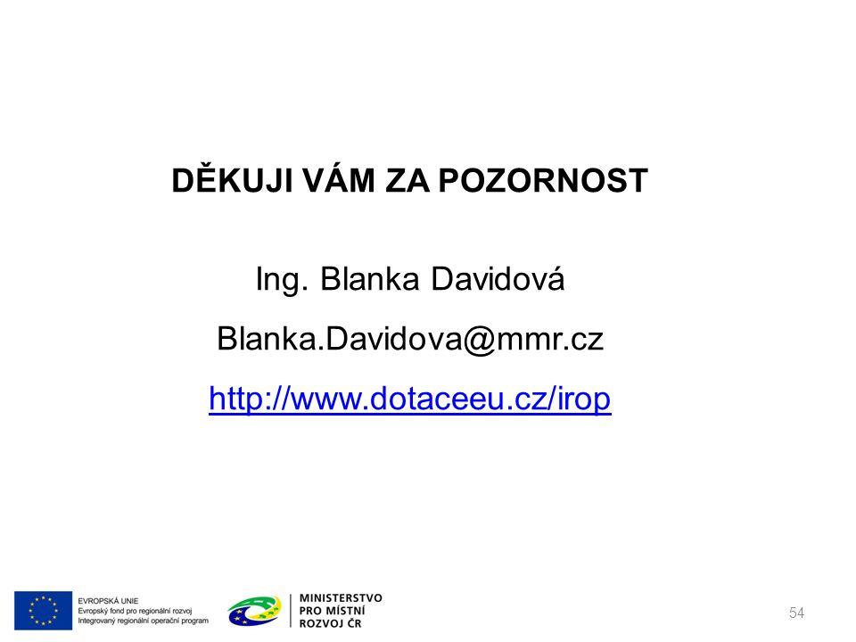 DĚKUJI VÁM ZA POZORNOST Ing. Blanka Davidová Blanka.Davidova@mmr.cz http://www.dotaceeu.cz/irop 54