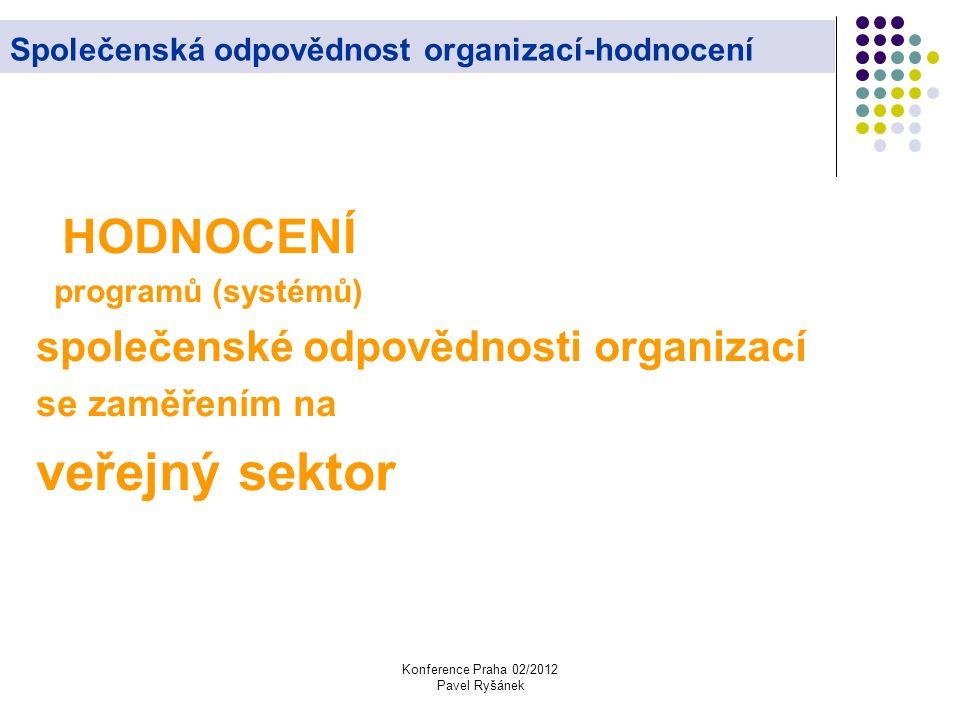 Konference Praha 02/2012 Pavel Ryšánek Společenská odpovědnost organizací-hodnocení HODNOCENÍ programů (systémů) společenské odpovědnosti organizací se zaměřením na veřejný sektor