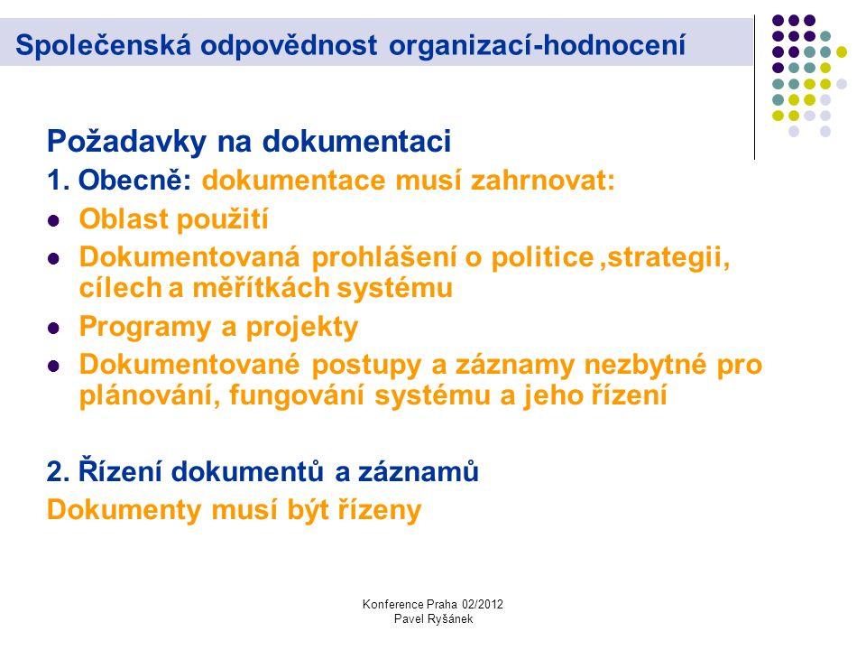 Konference Praha 02/2012 Pavel Ryšánek Společenská odpovědnost organizací-hodnocení Požadavky na dokumentaci 1.
